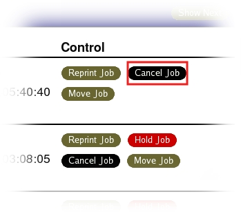 Click on Cancel Job to remove one of your printing jobs.