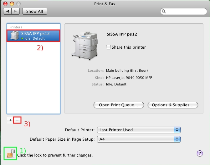 "Select the printer you wish to delete, then click on the Minus "" - "" sign..."
