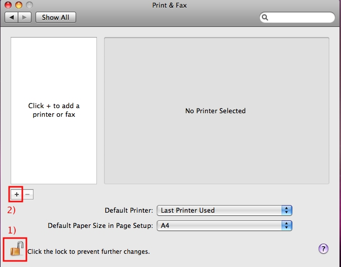 In the Print & Fax window, click on the Plus (+) sign ...