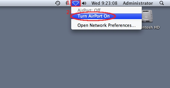 Click on Network icon then click on Turn AirPort On...