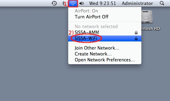 Click on Network then select SISSA-WiFi...