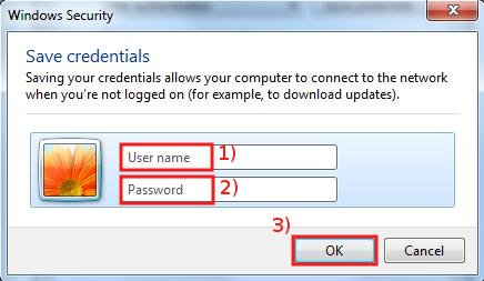 Insert your SISSA username and password, then click OK here and in ALL windows, in the last window click on Close...