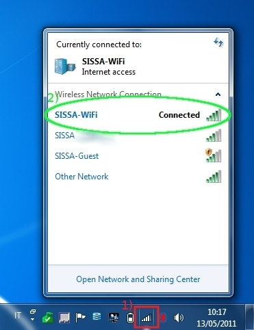 "The message "" Connected "" has to appears in the same line of SISSA-WiFi."
