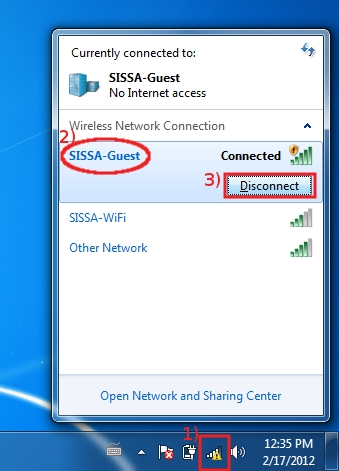 Disconnect from SISSA-Guest network ...