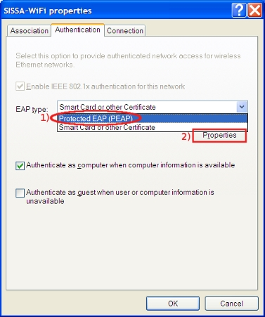 In EAP type drop down list, select Protected EAP (PEAP) and then properties...