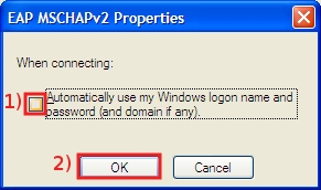 Remove the check in Automatically use my Windows logon name and password box, then click on OK ... then again click on OK in the Protected EAP Properties window...