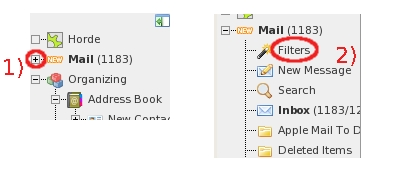 Expand the Mail item, then select Filters item...